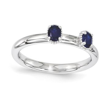 Sterling Silver Stackable Expressions Simulated Sapphire Two Stone Ring