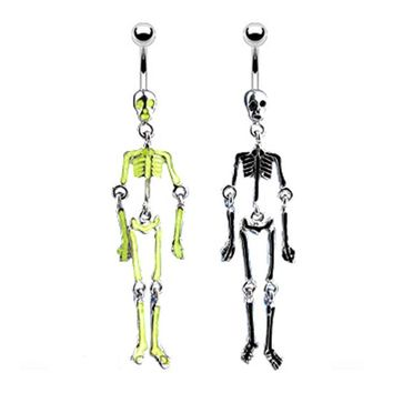 "Navel Belly Button Ring with Skeleton Bones Glow in the Dark Dangle - 14GA 3/8"" Long 