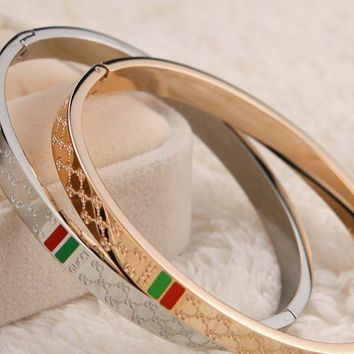 ac NOVQ2A GUCCI - plated 18k rose gold titanium steel high - end quality diamond - shaped red - green bracelet.