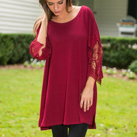 Lace Sleeve No Trace Top, Burgundy