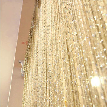 13 Colors Vogue Curtain Silver Silk Tassel String 200cm x 100cm Door Window Living Room Divider Curtain Valance Hot