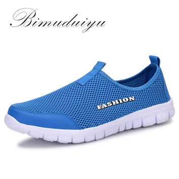 BIMUDUIYU Summer Style Male Lazy Network Shoes for Men /Women Shoes Foot Wrapping Breathable Mesh Shoes  Drop Shipping Size Plus