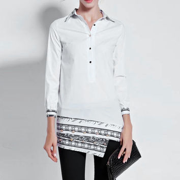 White Long sleeve Collared Top Embelished with Buttons