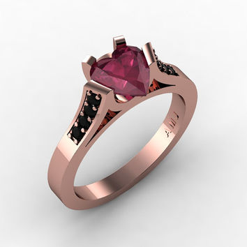 Gorgeous 14K Rose Gold 1.0 Ct Heart Bordo Red Ruby Black Diamond Modern Wedding Ring, Engagement Ring for Women R663-14KRGBDBR