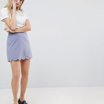 ASOS Tailored A-Line Mini Skirt with Scallop Hem at asos.com
