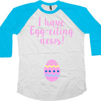 Easter Reveal Pregnancy Announcement Pregnant T Shirt Maternity Outfit Easter Egg Pregnancy TShirt Egg-citing Easter Raglan Tee - SA1043