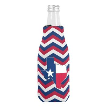 Red White and Blue Texas Lone Star State Koozie
