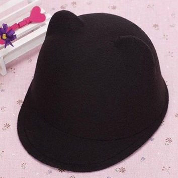 Chic Candy Color Felt Bear Ear Hat For Women