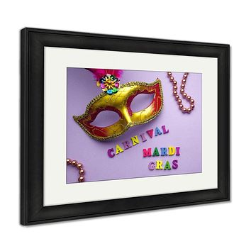 Framed Print, Colorful Mardi Gras Or Carnivale Mask On A Purple Venetian Masks Top View