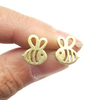 Adorable Bumble Bee Insect Shaped Stud Earrings in Gold   Animal Jewelry