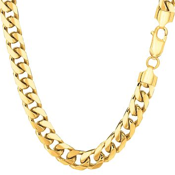 """14k Yellow Solid Gold Miami Cuban Link Chain Mens Bracelet, 6.2mm, 8.5"""""""
