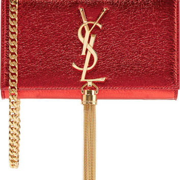 Saint Laurent - Monogramme Kate small metallic textured-leather shoulder bag