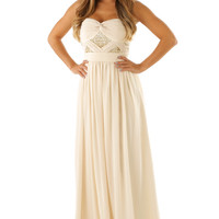 MINUET: Beauty Is Endless Maxi Dress: Cream/Gold