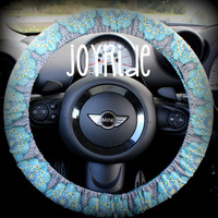 Steering Wheel Cover Turquoise Exotic Medallion Lilly Sugar Skull Flower