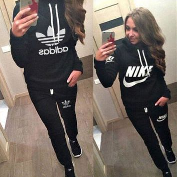 GPN1O Day First Nike Casual Hoodie Top Sweater Pants Trousers Set Adidas Two-piece Sportswear