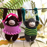 Knitted crochet toy monkey gift Valentine's Day Knitted animals Funny Valentine