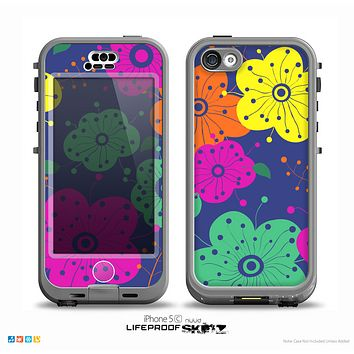 The Bright Colored Cartoon Flowers Skin for the iPhone 5c nüüd LifeProof Case