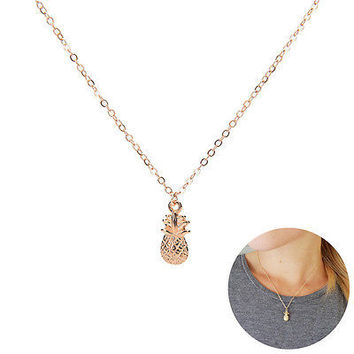 Summer Tiny Pineapple Cute Fruit Charm Gold Plate Long Chain Necklace Jewelry HU