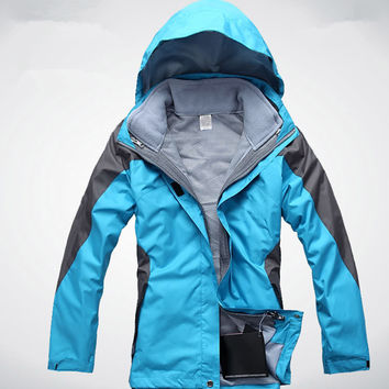 Outdoor Two Pieces Jackets Waterproof Windproof Camping Hiking 3 In 1 Windbreaker Warm Ski rock Climbing Women Hunting Clothes