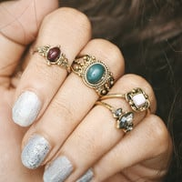 Vintage Gemstone Ring Korean Set [11485881039]