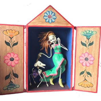 Flirty Skeleton Day of the Dead Retablo