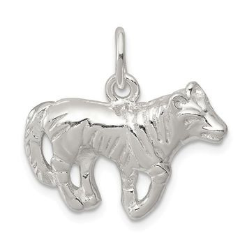 925 Sterling Silver Wolf Charm and Pendant
