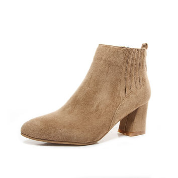Ankle Boots for Women Pointed Toe Faux Suede Autumn Winter Medium Heel Shoes Woman 6937