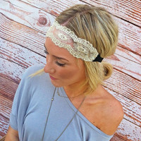 Cream & Gold Embroidered Lace Stretchy Headband Hair Band