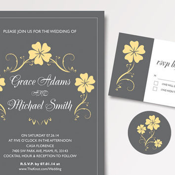 Printable Wedding Invitation Grey and Yellow Classic Garden Wedding Invitation Template Available for Instant Download - DIY