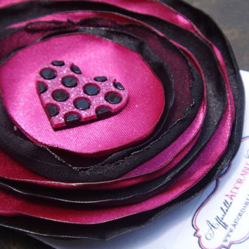 Pink and Black Satin Fabric Flower Hair Clip with Black and Pink Glittery Heart Accent