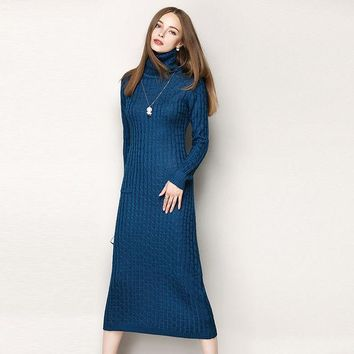 DCK9M2 New 2016 autumn winter sexy fashion women turtleneck long sleeve dress sheath knitted pullovers casual warm dresses blue