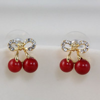 Rhinestone Cherry Beads Earrings