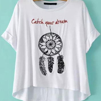 White Dip Hem Feather Embroidered T-Shirt