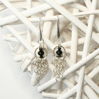 Sterling Silver European 4-in-1 Chainmaille Earrings with Hammered Circle Detail and Black Beads