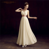 Robe De Roiree Double Shoulder Simple Solid Color Pleat Chiffon Long Evening Dresses Mother Of The Bride Dress
