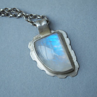 Moonstone Pendant Necklace,  Sterling Silver Handmade