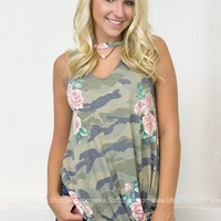 Knotted Camo Floral Top