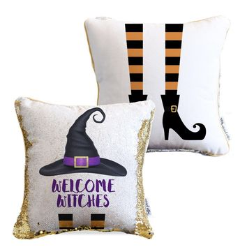Welcome Witches Sequin Pillow | COVER ONLY (Inserts Sold Separately)