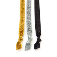 The All Dolled Up Glitter Headband Package - Three Elastic Gold Silver Black Glitter Headbands by Mane Message on Etsy