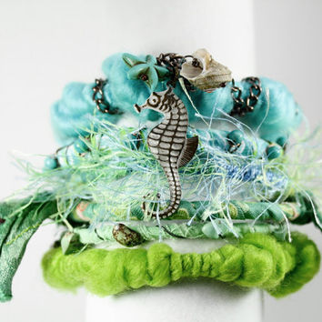 Bangle bracelet cuff fabric ocean blue green beach jewelry silk yarn fiber bracelets hippie gypsy bracelets seahorse charm bracelet