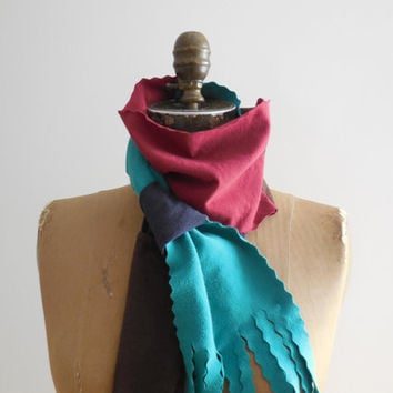 Multicolor T Shirt Scarf / Brown Aqua Red Blue / Lightweight / Recycled / Upcycled / Winter / Cotton / Soft / Gift for Her / ohzie