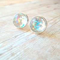 F O I L E D - Silver Gray Metallic Glitter Foil Sparkle Photo Glass Cab Circle Silver Plated Post Stud Earrings