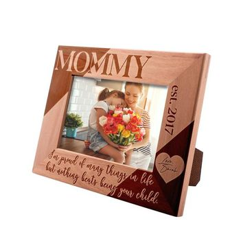Personalized Mother's Day Gift Picture Frame 4x6, Mommy Nothing Beats Being Your Child -  Custom Engraved Frame with Names & Date