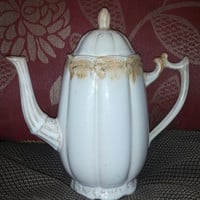 Lovely Large Euro Ceramica Ivory Tone Teapot With Tan Drip Trim