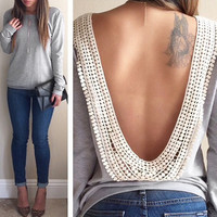 Lace Open-Back Long-Sleeve Shirt