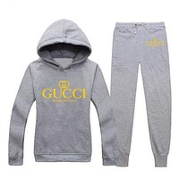 GUCCI Casual Woman Long Sleeve Print Hoodie Top Sweater Pants Trousers Set Two-piece Sportswear G