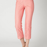 ANTHROPOLOGIE PINK LACE YOUGHAL CROP PANTS SZ 2 ALL 5 STAR REVIEWS! NWT $148.00