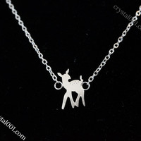 silver mini deer necklace,infnite handmade necklace, tiny necklace, miniml neckl
