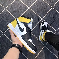 Air Jordan 1 Retro White/Yellow/Black Sneaker Shoe 36-46