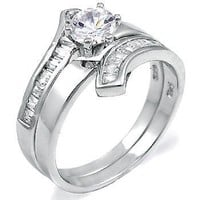 Caprina: 1.8ct IOF CZ Contemporary Flared Bypass 2 pc Wedding Ring Set 925 Silver, 3104A